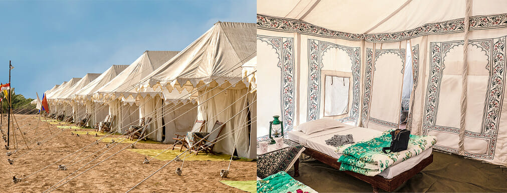 These tents at the Royal Desert Camp are spacious with two camp cots, electric light, and a basic ensuite, seen through the gap behind the bed. I enjoyed sitting outside late in the day as the temperature cooled down after a day at the Pushkar Camel Festival