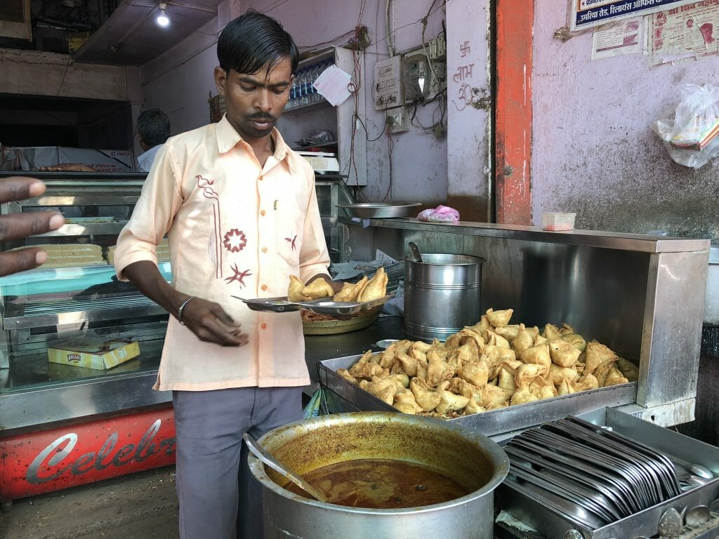 Roadside Stall selling Samosa in India