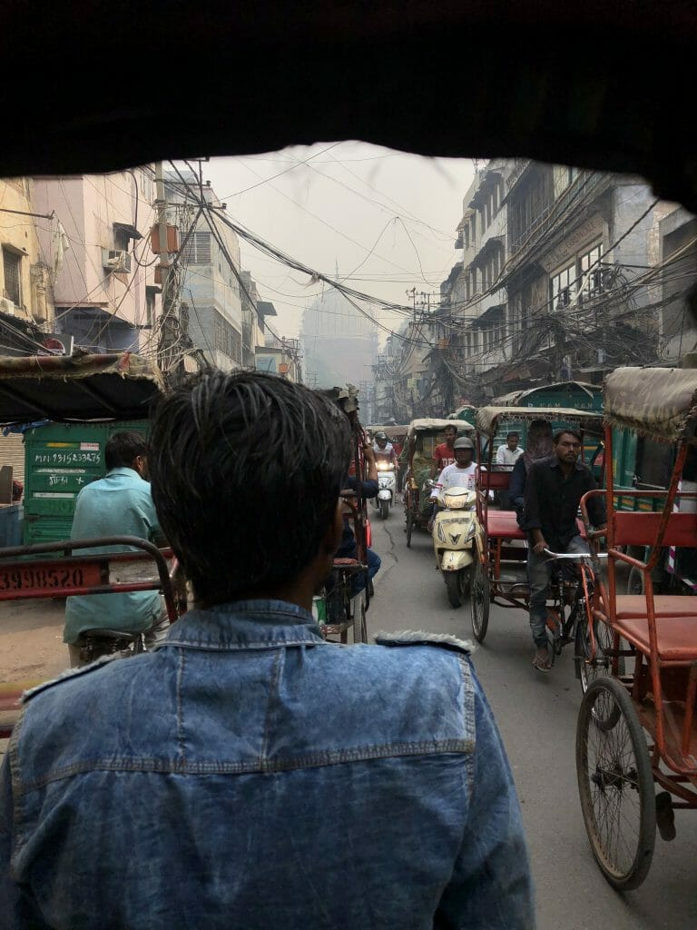 Rikshaw Ride in Old Delhi towards Jama Masjid Mosque
