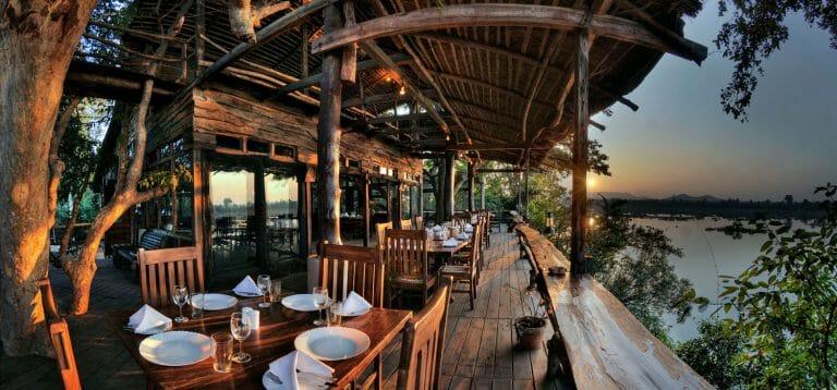 Terrace overlooking the river at Ken River Lodge Panna National Park - Safari in Madhya Pradesh