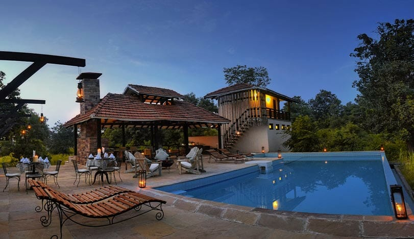 Pool and Lodge at Denwa Backwater Escape in Satpura National Park