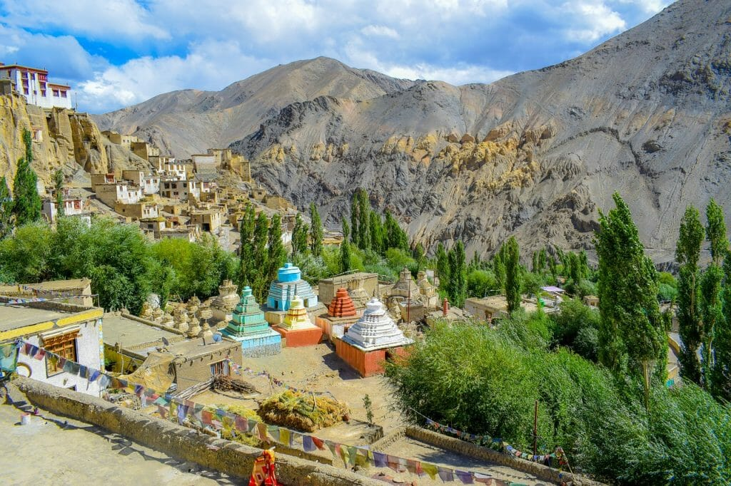 Small mountain village Leh in Ladakh mountains - Ladakh Road Trip