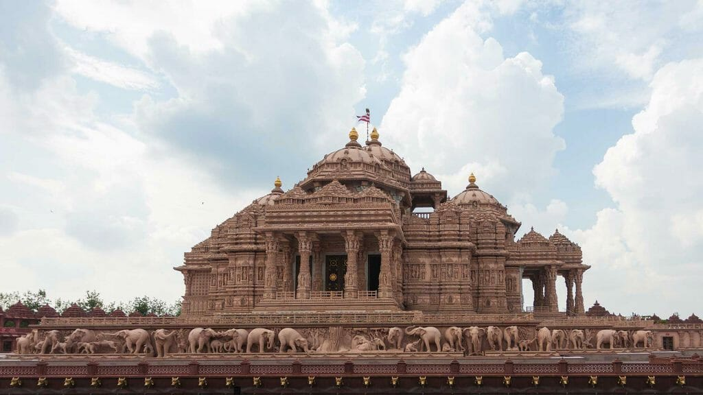 Akshardham Temple Delhi with the stone elephants looking as if they a real